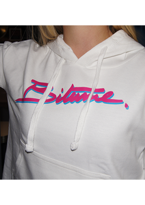 "Sweat-shirt Ladies Crop 100 % Bitume SIGNATURE BIG "" Girlie "" Blanc."