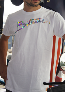 "T Shirt 100 % Bitume SIGNATURE BIG "" Full White"" holographique personnalisable."