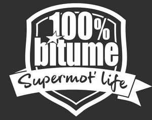 """ Lot de 3 "" Autocolants 100% Bitume "" SuperMot' Life "" Blanc"