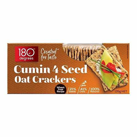 180 Degrees 4 Seed Oat Crackers Cumin 135g