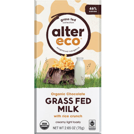 ALTER ECO Grass Fed Milk with Rice Crunch 46% Cocoa 75g