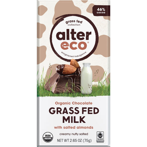 ALTER ECO Grass Fed Milk with Salted Almonds 46% Cocoa 75g