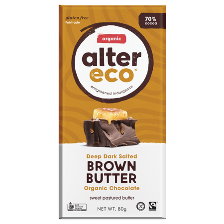 ALTER ECO Organic Deep Dark Salted Brown Butter 70% Cocoa 80g