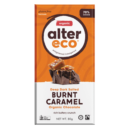 ALTER ECO Organic Deep Dark Salted Brunt Caramel 70% Cocoa 80g
