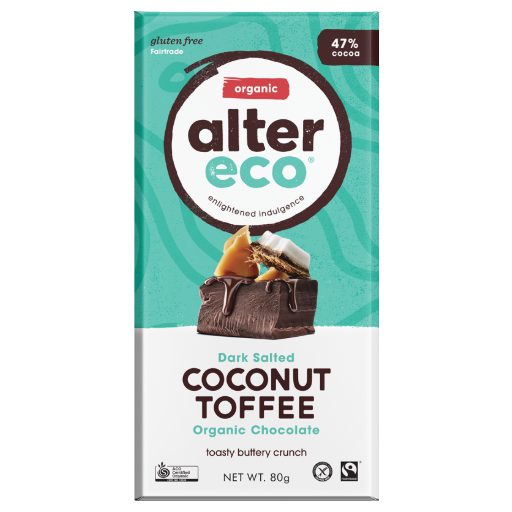 ALTER ECO Organic Dark Salted Coconut Toffee 47% Cocoa 80g