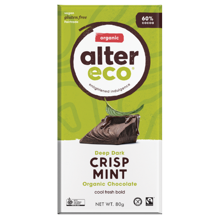 ALTER ECO Organic Deep Dark Crisp Mint 60% Cocoa 80g