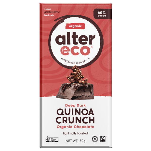 ALTER ECO Organic Deep Dark Quinoa Crunch 60% Cocoa 80g