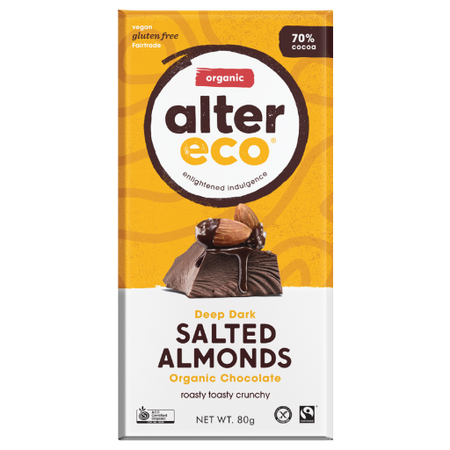 ALTER ECO Organic Deep Dark Salted Almonds 70% Cocoa 80g