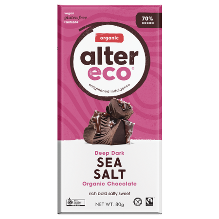 ALTER ECO Organic Deep Dark Sea Salt 70% Cocoa 80g