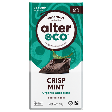 ALTER ECO Organic Super Dark Crisp Mint 90% Cocoa 75g
