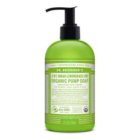 Dr Bronner's 4 in 1 Organic Pump Soap - Lemongrass & Lime (355ml)