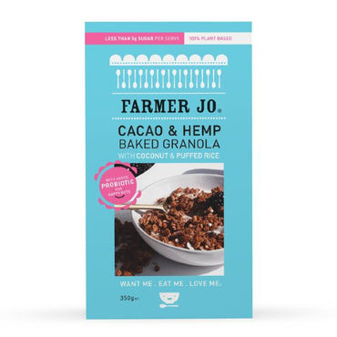Farmer Jo - Hemp & Cacao Backed Granola + PROBIOTICS 350g