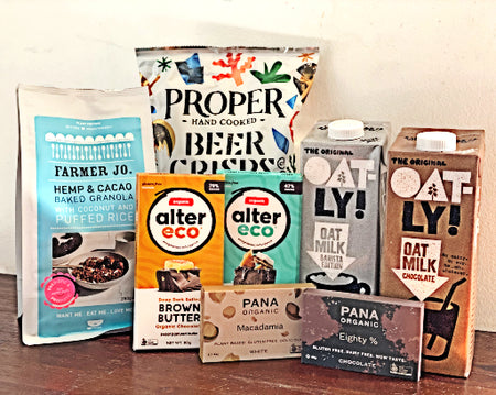 GreenGrofers healthy box oatly propercrisp pana chocolate farmer jo