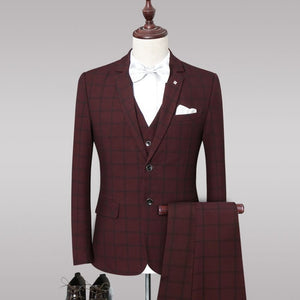 Dress Plaid Formal Suits Set Mens Fashion Boutique Wool