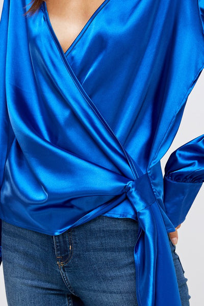 Satin Stretch Cobalt Wrap Blouse