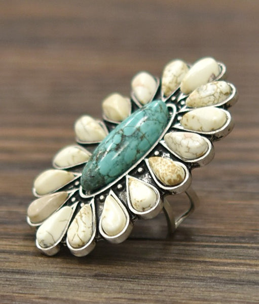 Flower White and Turquoise Stone Ring