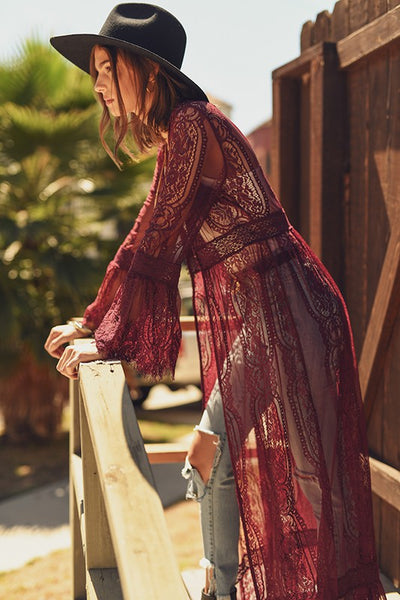 Lovely Lace Duster Maroon