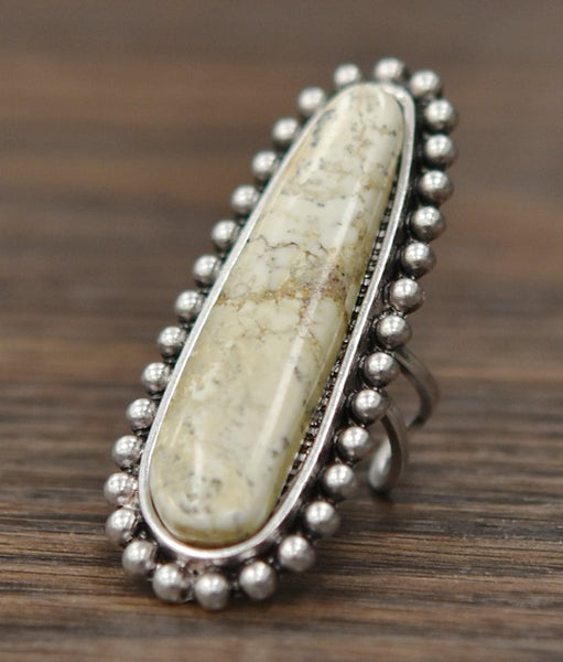 Oval Beige Stone Ring
