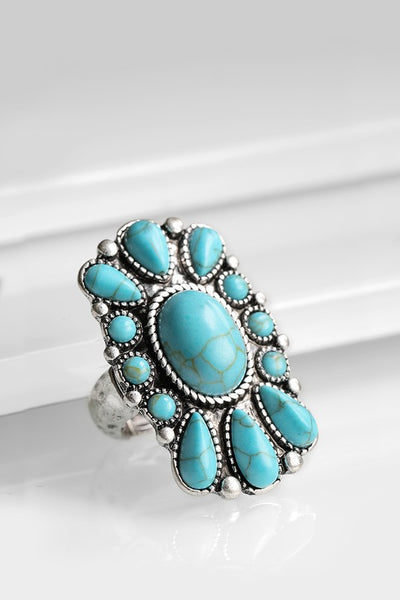 Square Flower Turquoise Ring