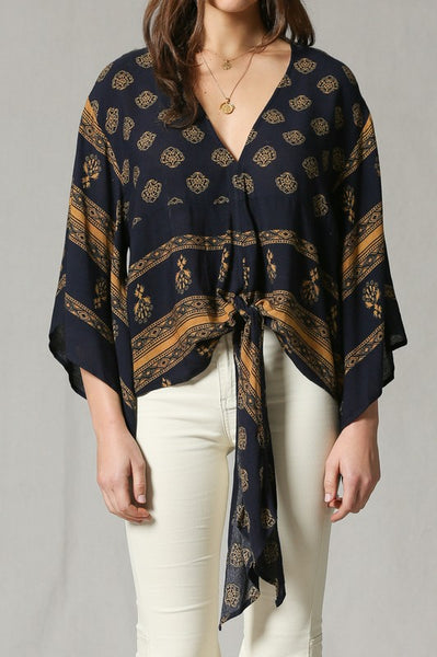 Navy Bell Blouse