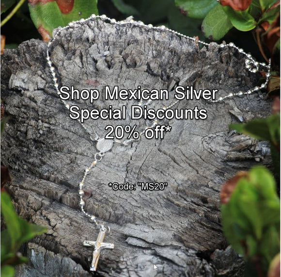 Sterliver Silver Rosary Necklace