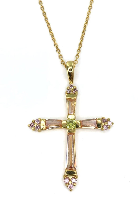 Sterling Silver Gold Plated Pink CZ Cross Necklace, 16