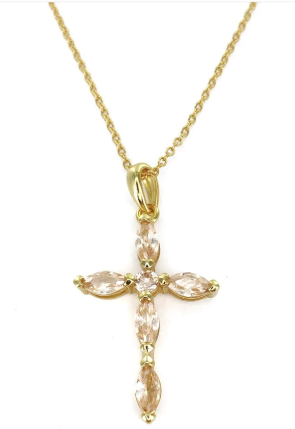 Sterling Silver Gold Plated Clear CZ Cross Necklace, 16