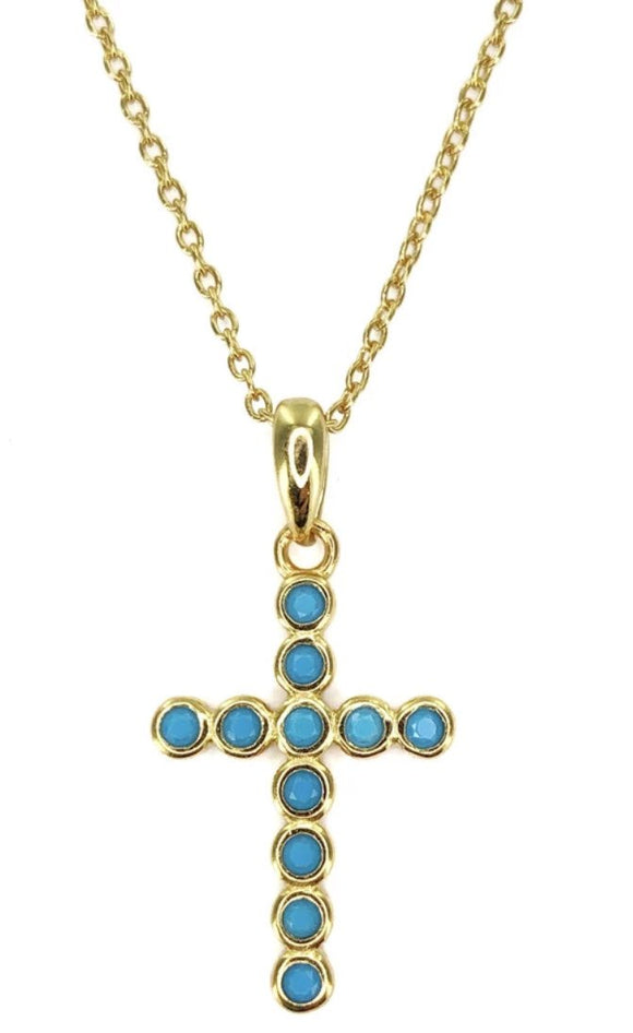 Sterling Silver Gold Plated Mini Turquoise Cross Necklace, 16