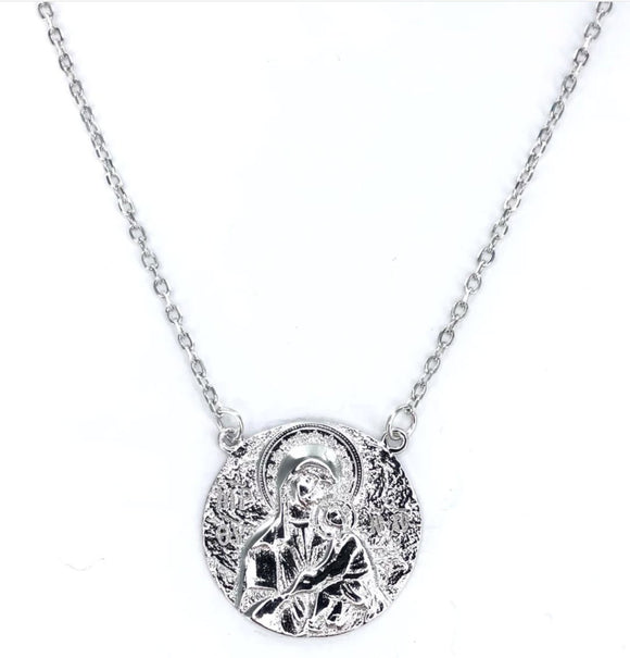 Sterling Silver Rhodium Plated Our Lady of Perpetual Help Medal, 16