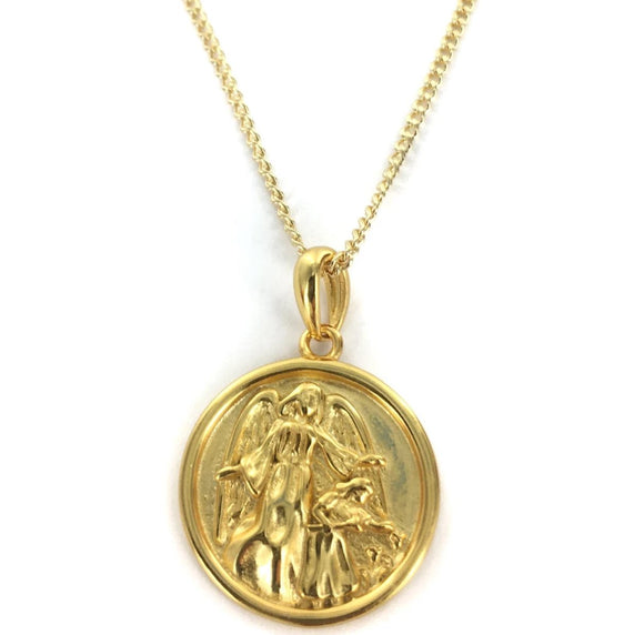 Sterling Silver Gold Plated Guardian Angel Medal, 16