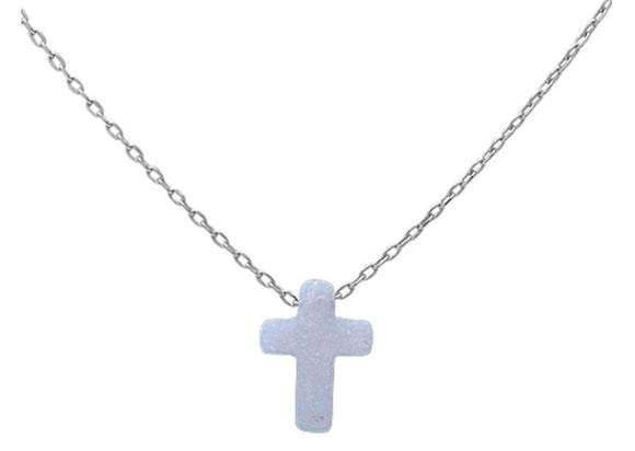 Sterling Silver White Opal Cross Charm Necklace, 17