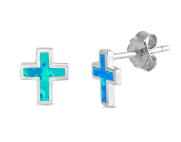 Sterling silver and Blue Opal Cross Earrings