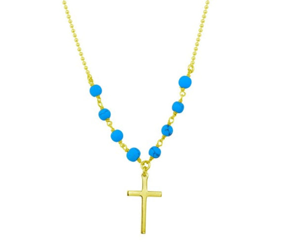 Sterling Silver Gold Plated Small Cross Necklace with Turquoise Beads, 16
