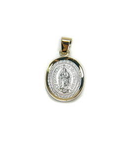 "Sterling Silver Our Lady of Guadalupe with 14k Yellow Gold Frame Pendant, 0.7"" x 0.6"" S"