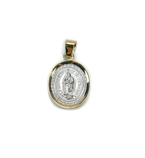 Sterling Silver Our Lady of Guadalupe with 14k Yellow Gold Frame Pendant, 0.7