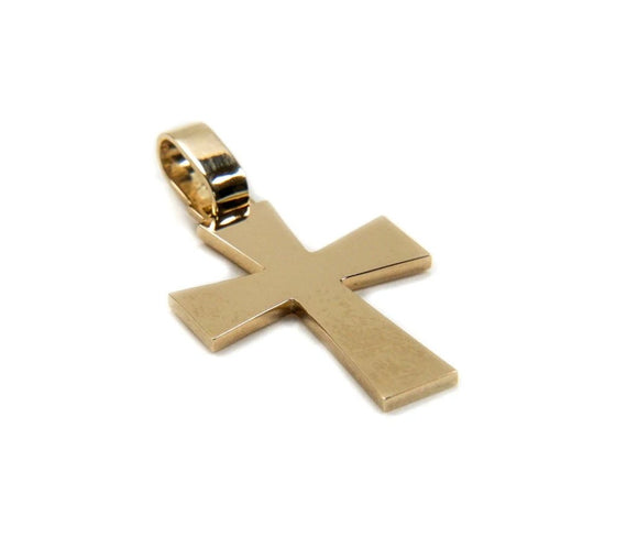 14k Gold Tressor Rectangular Cross Pendant, 0.7