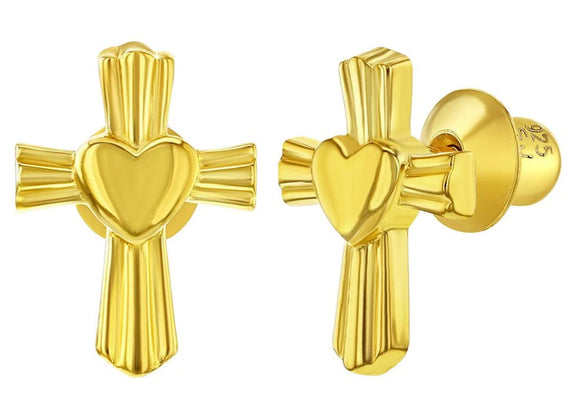 Sterling Silver Gold-plated Heart Cross Earrings