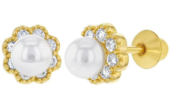925 Sterling Silver White CZ Simulated Pearl Flower Screw Back Earrings Girls