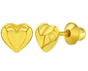 Sterling Silver Gold Flashed Plain Small Heart Screw Back Earrings