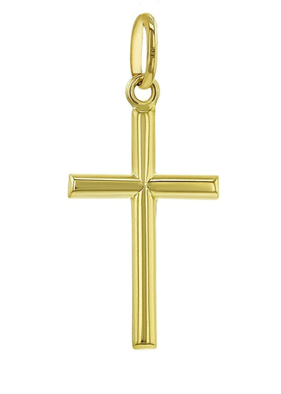 14k Yellow Gold Classic Baptism Small Stick Cross, 0.5