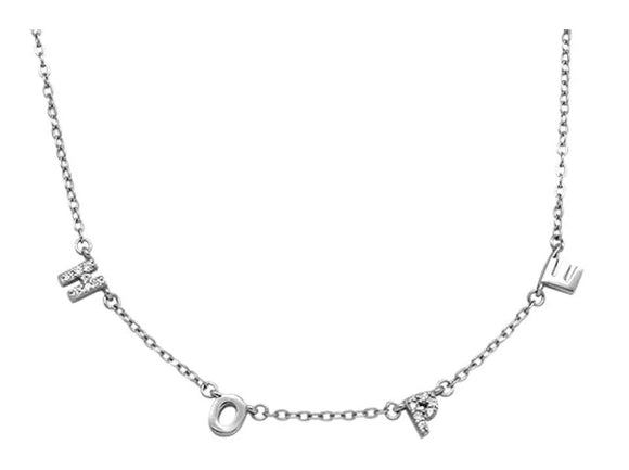 Sterling Silver Rhodium Plated Cubic Zirconia 'Hope' Necklace, 16