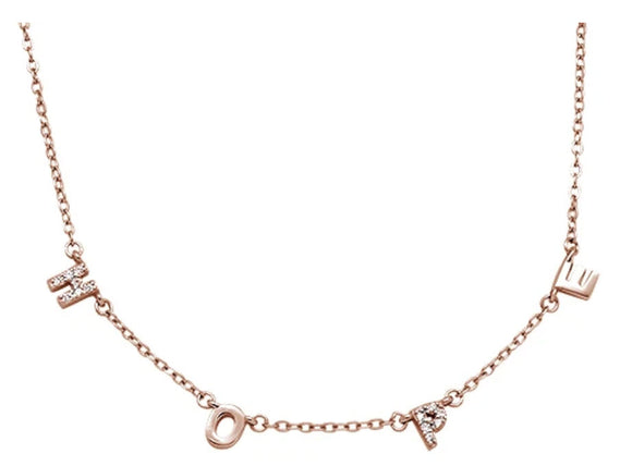 Sterling Silver Rose Gold Plated Cubic Zirconia 'Hope' Necklace, 16