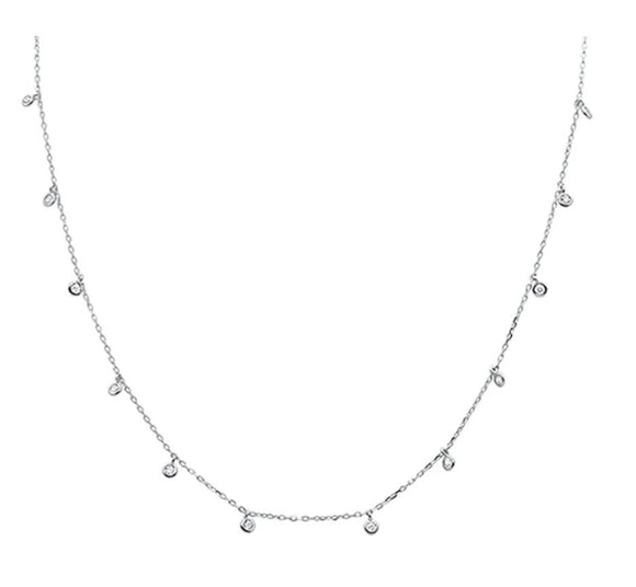 Multi Round Bezel Cubic Zirconia .925 Sterling Silver Necklace
