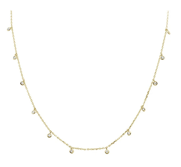 Yellow Gold Plated Multi Round Bezel Cubic Zirconia Necklace with Wing Angel