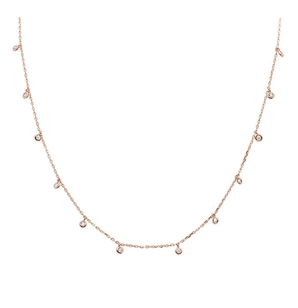 Rose Gold Plated Multi Round Bezel Cubic Zirconia .925 Sterling Silver Necklace