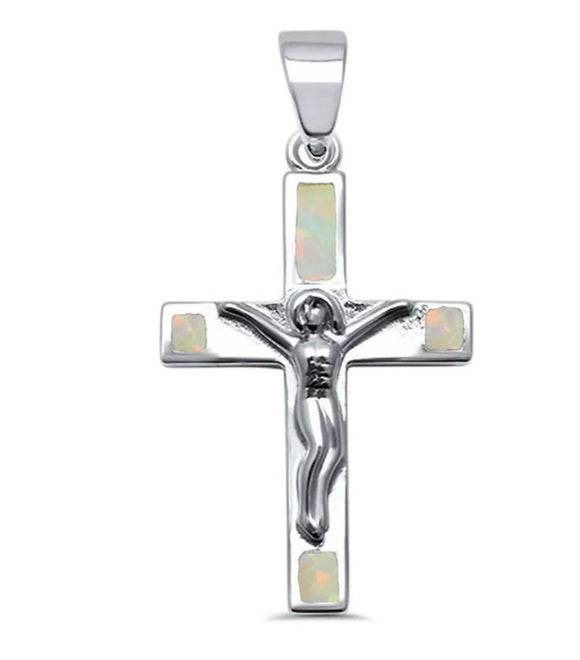 Silver & White Opal Jesus Crucifix Cross .925 Sterling Silver Necklace