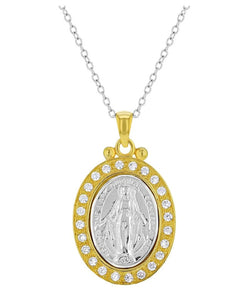 Sterling Silver Two Tone Necklace with Miraculous Medal and Cubic Zirconias, 19""