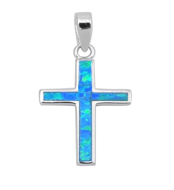 Sterling Silver Blue Opal Cross Necklace, 16