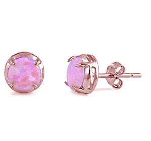Sterling Silver Rose Gold Plated Round Shaped Pink Opal Stud Earrings