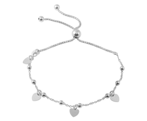 Sterling Silver Rhodium Plated Box Chain Multi Heart and Bead Lariat Bracelet, 8